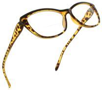 Fiore Bifocal Reading Glasses for Women Cateye Bi Focal Readers Cat Eye Eyeglasses Clear Lens Animal Print