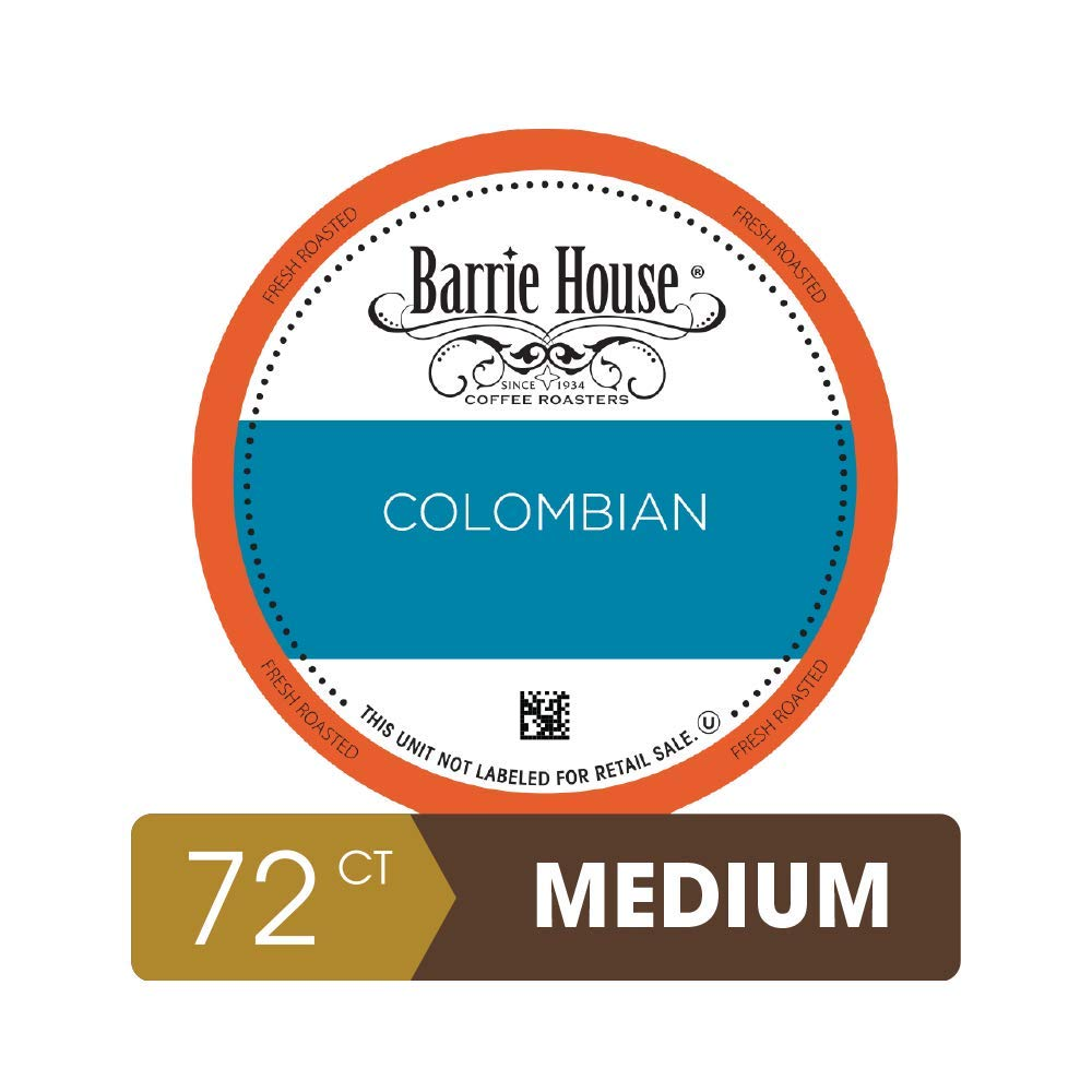 Barrie House Colombia Reserve Single Serve Coffee Pods, 72 Pack   Compatible With Keurig K Cup Brewers   Small Batch Artisan Coffee in Convenient Single Cup Capsules