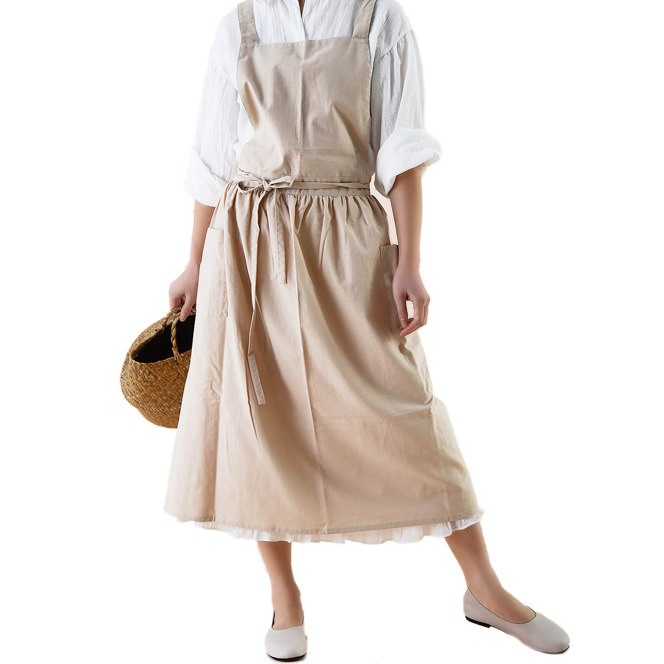 Waterproof Japanese Style Kitchen Cooking Apron Smock Pinafore Dress for Women with Pockets Light Beige
