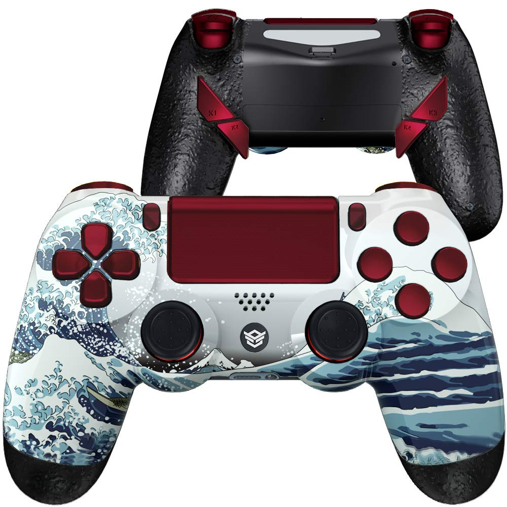 HexGaming HEX Edge Controller 4 Mappable Back Buttons & Replaceable Thumbsticks & Hair Trigger for PS4 Pro Custom Controller PC Wireless FPS Esport Gampad - The Great Wave Red