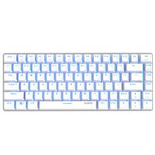Ajazz AK33 Geek Mechanical Keyboard, 82 Keys Layout, Blue Switches, Blue LED Backlit, Aluminum Portable Wired Gaming Keyboard, Pluggable Cable, for Games Work and Daily Use, White