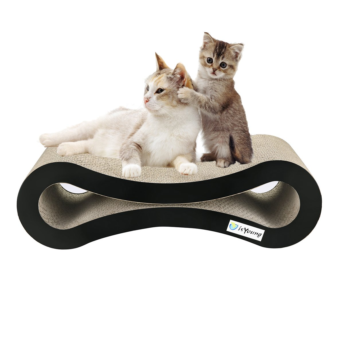 isYoung Cat Scratcher Lounge Corrugated Cat Scratcher Cardboard Protector for Furniture Couch Floor Eco-Friendly Toy - Keep Cats Fun Healthy