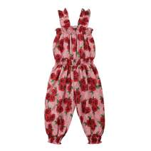 Toddler Baby Girl Floral Jumpsuit Sleeveless Strap Romper Bodysuit Overall One-Piece Outfit Red