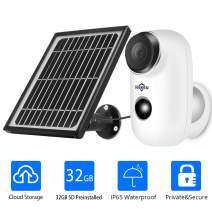 1080P Solar Wireless Camera,Outdoor Security Camera,App Remote,2-Way Audio,Motion Alert,Rechargeable Batteries,IP65 Waterproof,Night Vision,2.4GHz WiFi,Encrypted Cloud Storage & 32GB SD Storage