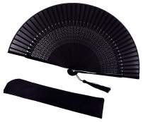 meifan Black Bamboo Rave Folding Fans for Women, 8.27-Inch Chinese Japanese Silk Handheld Fan for Performance, Wedding, Decoration, Dancing, Party, Gifts, Festival Accessorie (Window)