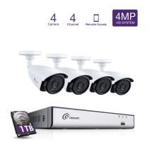 Loocam 2K 4MP 4CH Video Surveillance DVR Kit, 4 Channel DVR with 1TB HDD, 4X 4.0MP Security Bullet Cameras, IP67 Weatherproof CCTV Camera, 150ft Night Vision, Smartphone and PC Remote Access