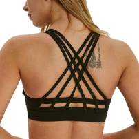 TERODACO Yoga Bras for Women Strappy Sports Bra Cross Back Wireless Padded Full Support