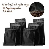 Stand-up Storage Bags Pouches Airtight Coffee Bean Flower Tea Snack Dried Fruit Food with Degassing Valve 16 OZ High Barrier 50 Pack Zipper (Glossy Black)