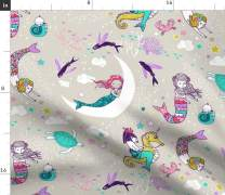 Spoonflower Fabric - Sleepy Mermaids, Lullaby, Candy, Large, Rest, Baby Girl, Ocean, Coral, Printed on Minky Fabric by The Yard - Sewing Baby Blankets Quilt Backing Plush Toys