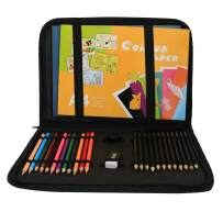 Sketch Pencils and Colored Pencils Drawing Kit in Zipper Carry Case,Art Supplies Drawing Set with Pencil Sharpener Rubber Coloring Sketch Books For Adults Kids Drawing Sketching(H-29)