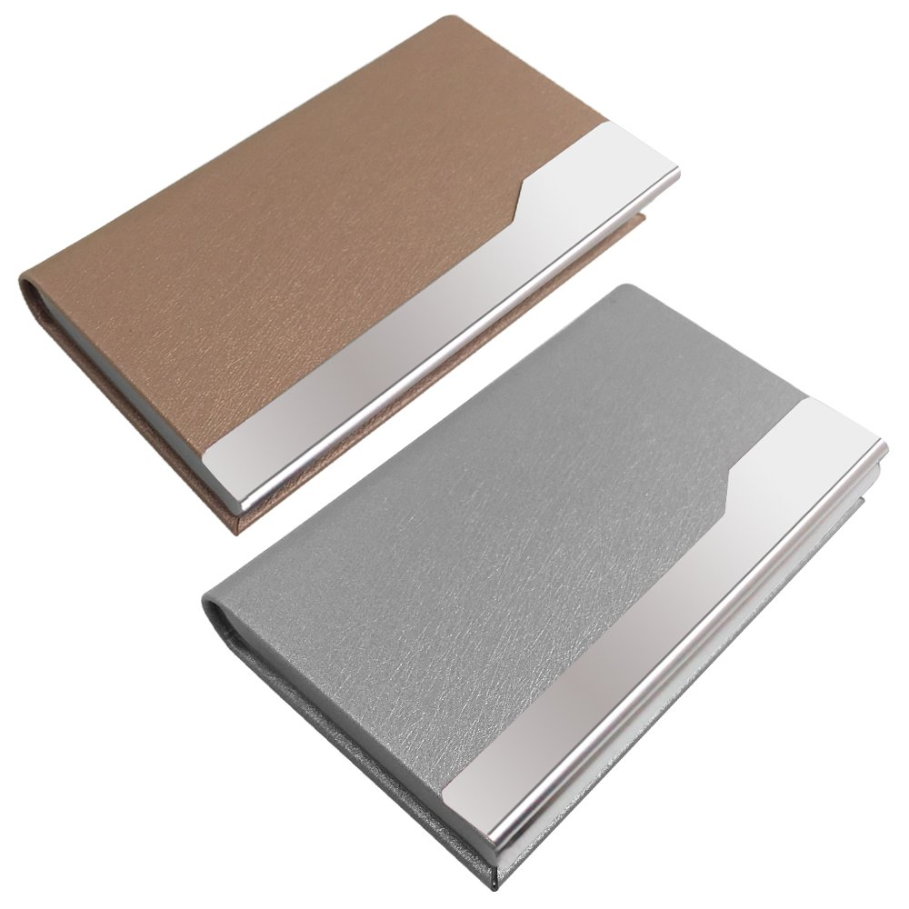2 Pcs Professional Business Card Holders, SENHAI Stainless Steel + PU leather Card Case with Magnetic Shut for Men and Women - Silver, Champagne