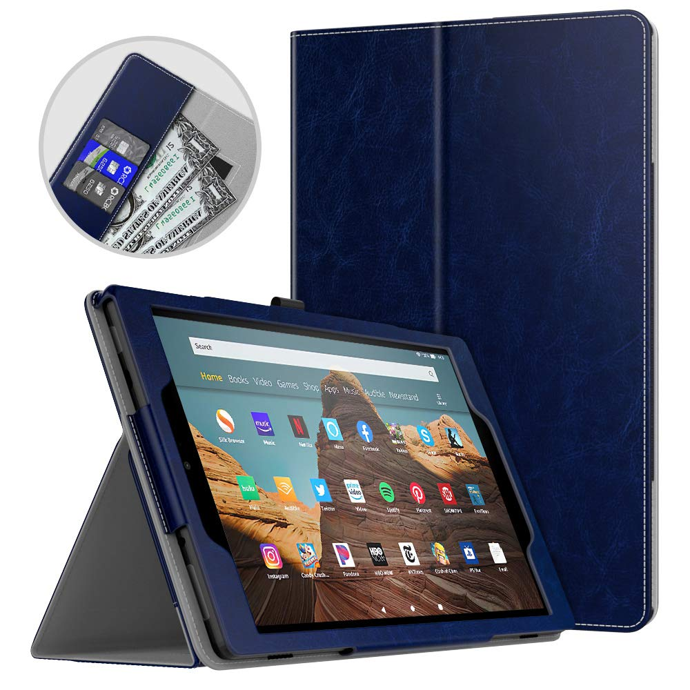 Dadanism All-New Amazon Fire HD 10 Tablet Case (9th Generation - 2019 Release) / (7th Generation - 2017 Release), Folio Cover Slim Stand with Card Slot for 10.1 Inch Cover - Indigo