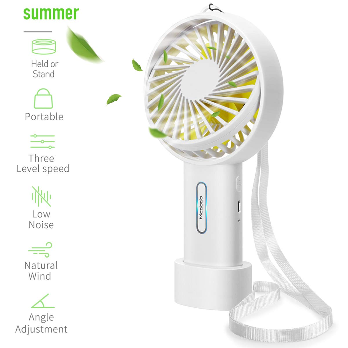 AICase Mini Handheld Fan, Portable Desk Stroller Table Fan with USB Rechargeable Battery Cooling Folding Electric Personal Fan Handheld Fan for Office Room Outdoor Household Traveling (White)