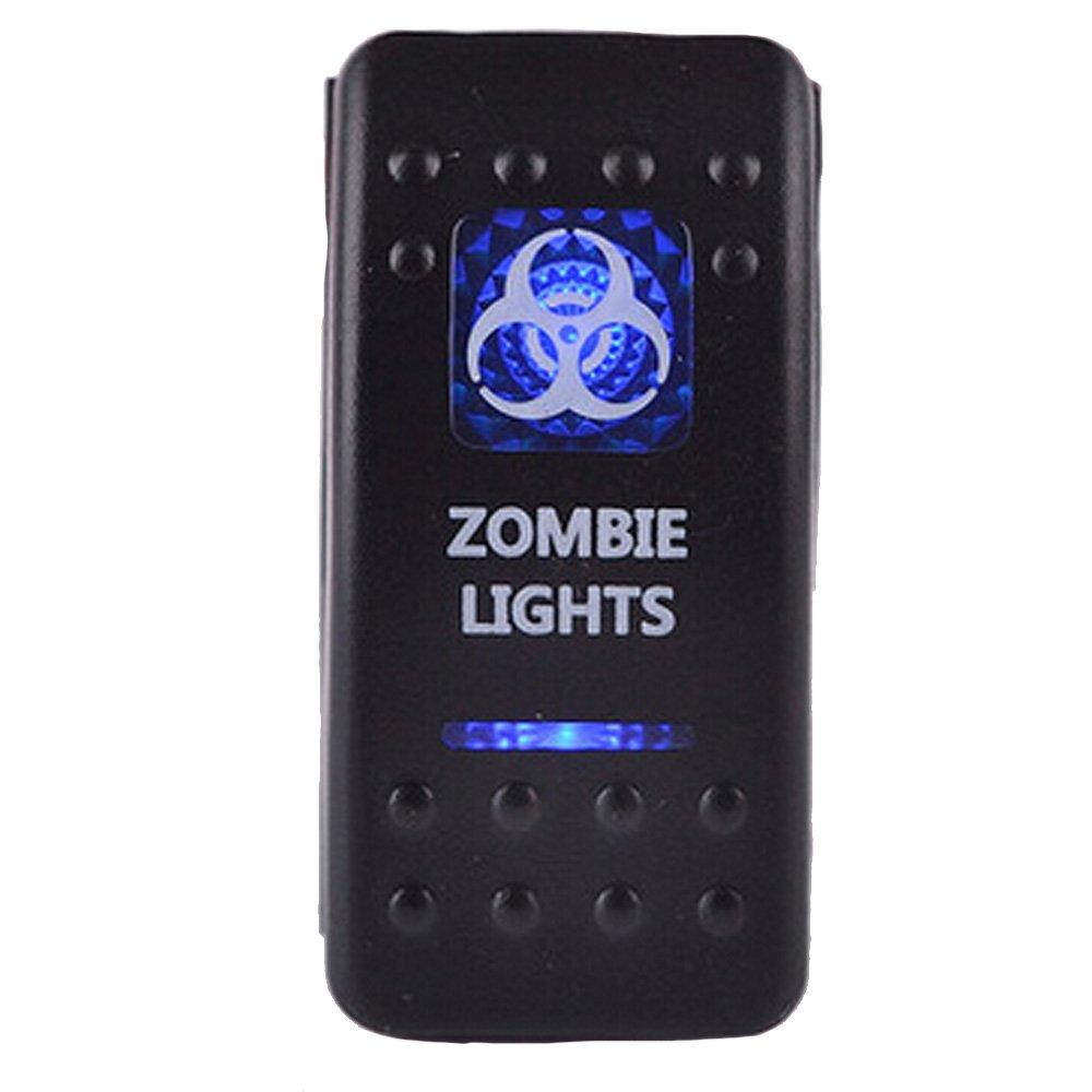 ESUPPORT Car Blue LED Zombie Light Rocker Toggle Switch ON OFF 12V 20A, 24V 10A