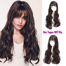 Vigorous Top Hairpiece for Women Synthetic Long Curly Wavy Hairpiece for Hair Loss Thinning Hair Clip in Hair with Bangs 24 Inch for Cosplay Costume Party(4/33#)