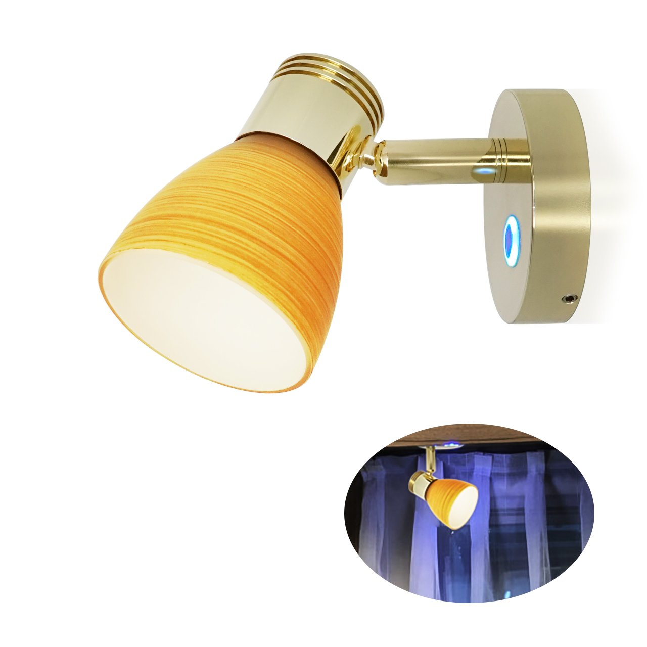 RV 12V Warm White Reading Light - Camper Berth Directional Interior bracket Lamp, Teak Color Glass Lampshade, Inbuild Touch Adjustable Switch Has Blue Night Decor Lighting, Small Base, Surface mount