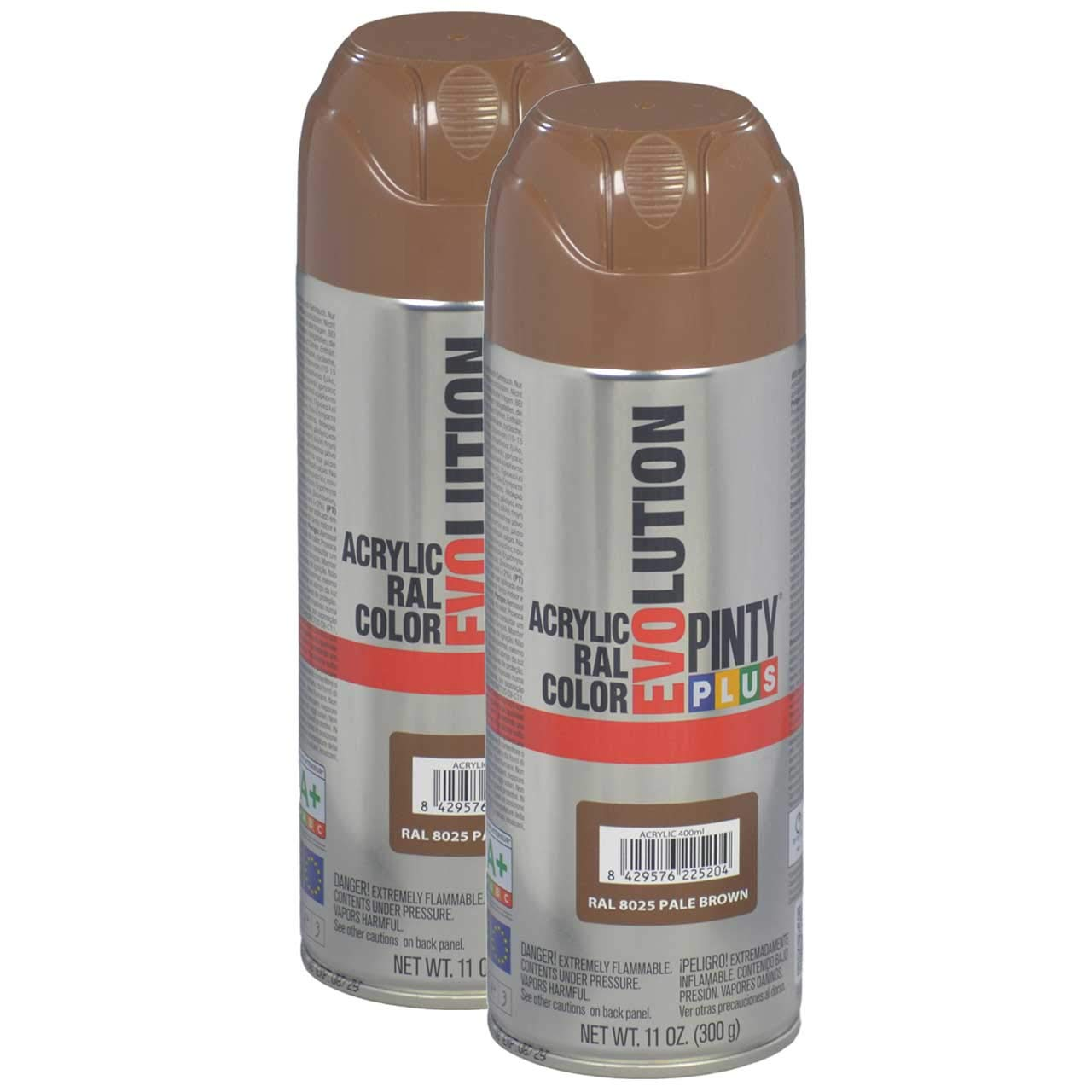 Fast Dry, Low Odor - Acrylic Spray Paint PintyPlus Evolution - Pack of 2 (Pale Brown)
