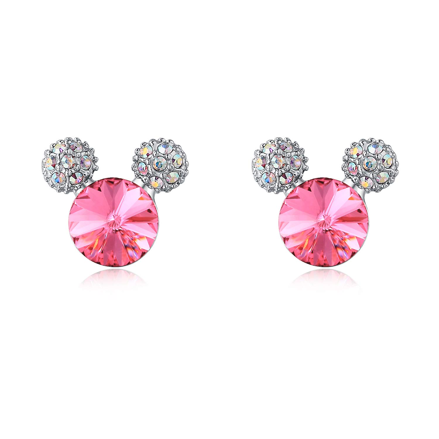 HERAYLI Mouse Stud Earrings for Girls/Women,Made with Swarovski Crystal Lovely Earrings Jewelry Gift (Pink)