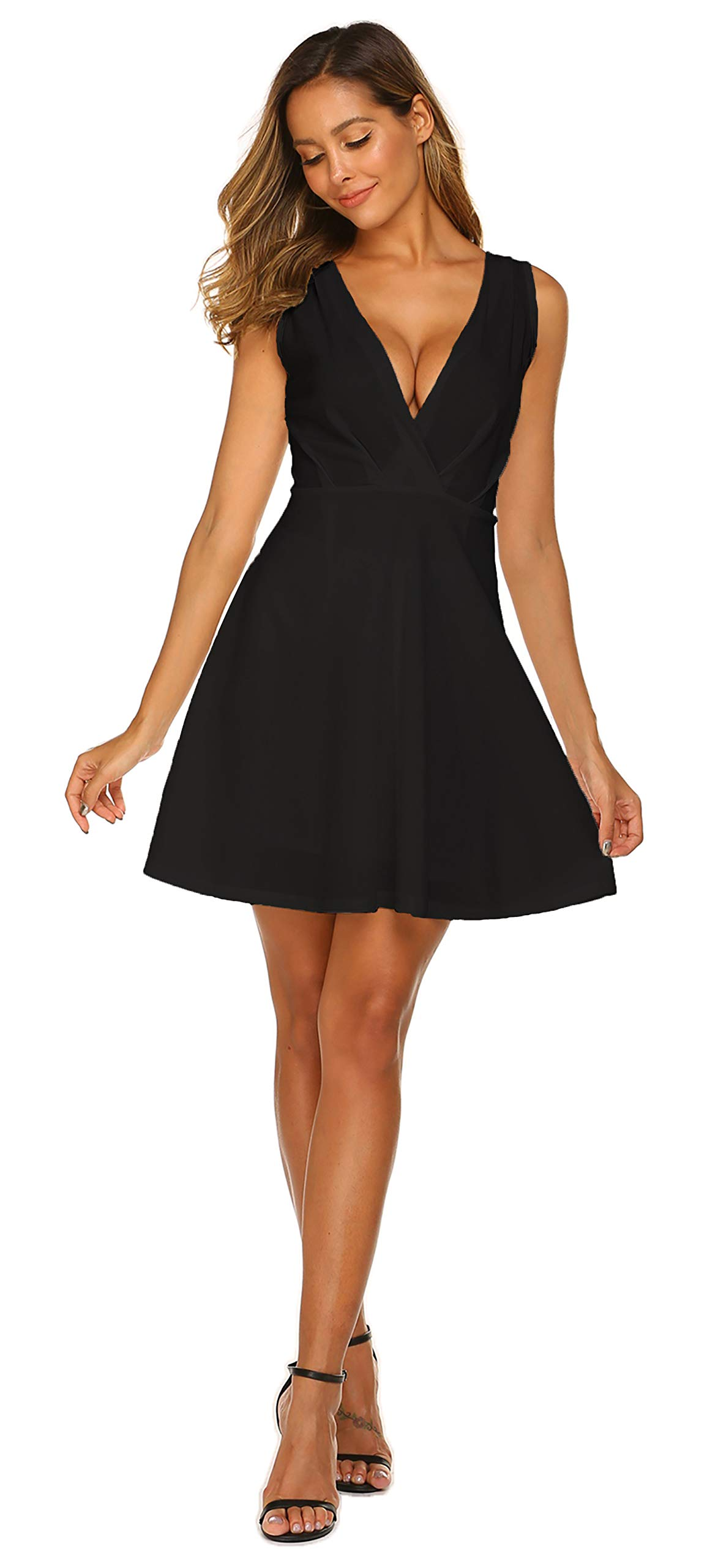 OURS Women's Sexy V Neck Swing A-line Dress Homecoming Cocktail Party Skater Dress