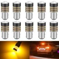 KATUR 1157 BAY15D 1016 1034 7528 Led Light Bulb Super Bright 900 Lumens High Power 3014 78SMD Lens LED Bulbs for Brake Turn Signal Tail Backup Reverse Brake Light Lamp,Amber(Pack of 10)