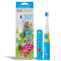 Brush Baby Go-Kidz Toddler and Kid Electric Travel Toothbrush for Ages 3+ Years - Stickers, 2-Speed Vibration, and Smart Timer Provide a Fun Brushing Experience - (1) 3+ yrs Brush Head Include - Blue