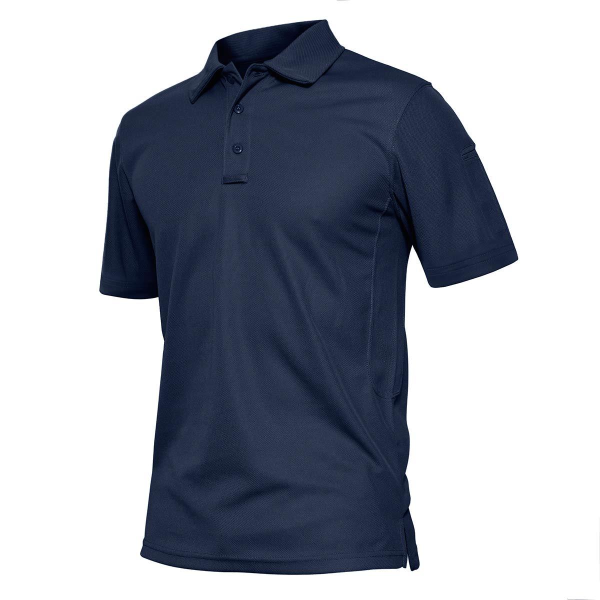 TACVASEN Men's Outdoor Sport Performance Polo Long and Short Sleeve Shirt Tactical Top Tee Shirt