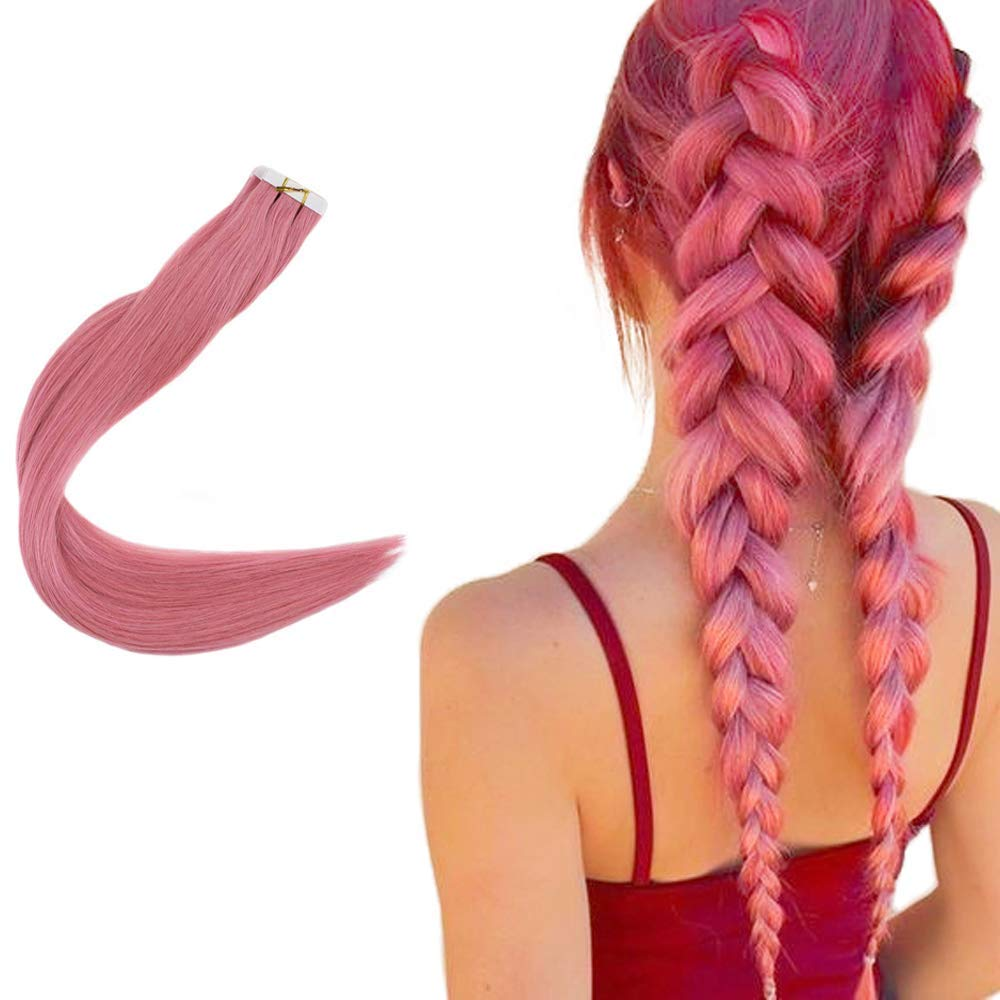 Easyouth 12inches Tape in Human Hair Real Natural Human Hair Extensions Color Pink 20g per Package Remy Tape for Extensions Glue in Extensions Skin Weft Tape in Hair