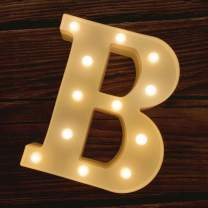 MUMUXI LED Marquee Letter Lights 26 Alphabet Light Up Marquee Number Letters Sign for Wedding Birthday Party Battery Powered Christmas Lamp Night Light Home Bar Decoration (B)