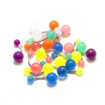 Belly Ring 20 Pack Navel Body Piercing Jewelry Assorted Color UV Light 14G