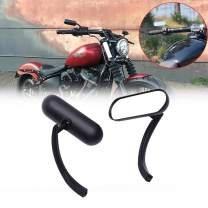 DREAMIZER Black Motorcycle Rear View Mirrors 8MM 10MM Oval Retro Mini Side Mirror for Harley Davidson Moped Street Glide Road King Softail Touring Cafe Racer
