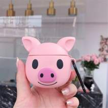 Lupct Q Pink Pig Compatible with Airpods Pro/Airpods 3 Case Silicone,Cute Cartoon 3D Cool Air pods Design Cover,Fun Fashion Funny Cases for Kids Girls Teens Boys Style Character Skin Keychain Airpod 3