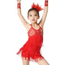 MiDee Latin Dress Dance Costume 3 Colors Camisole Sequins Tassels Skirt for Girls
