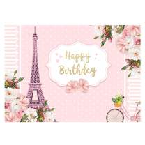 Funnytree 7x5ft Happy Birthday Party Backdrop Pink Floral Paris Eiffel Tower Princess Baby Girl Photography Background Polka Dots Stripes Flower Cake Table Decoration Banner Photo Booth Props