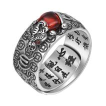 LOVECOM 990 Sterling Silver Dragon Rings for Men Vintage Open Ring Thai Silver Jewelry Cool Birthday Party Gift (Style 4-925 Silver Red Stone)