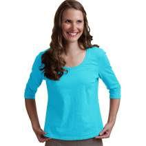Neon Buddha Women's Comfortable Top Female Cotton T Shirt with Scoop Neckline