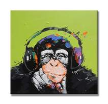 Paimuni Gorilla Monkey Paintings Hand Painted Cute Chimp Canvas Oil Painting Stretched and Framed Ready to Hang Living Room Bedroom Office Bathroom 24x24 Inch