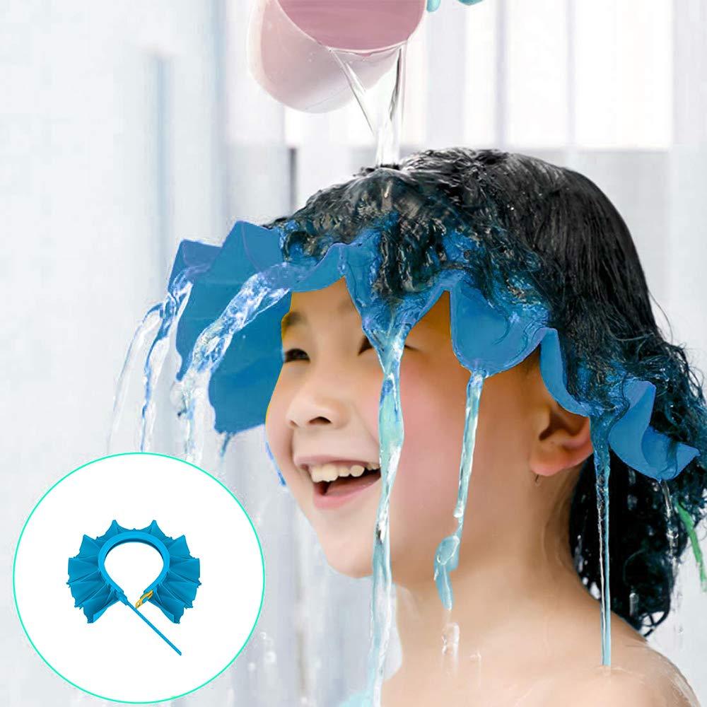 Baby Shower Cap, Shampoo Cap Adjustable Visor Bathing Protection Hat Funny Safety Shield for Children Kids Toddler Infants(Blue)