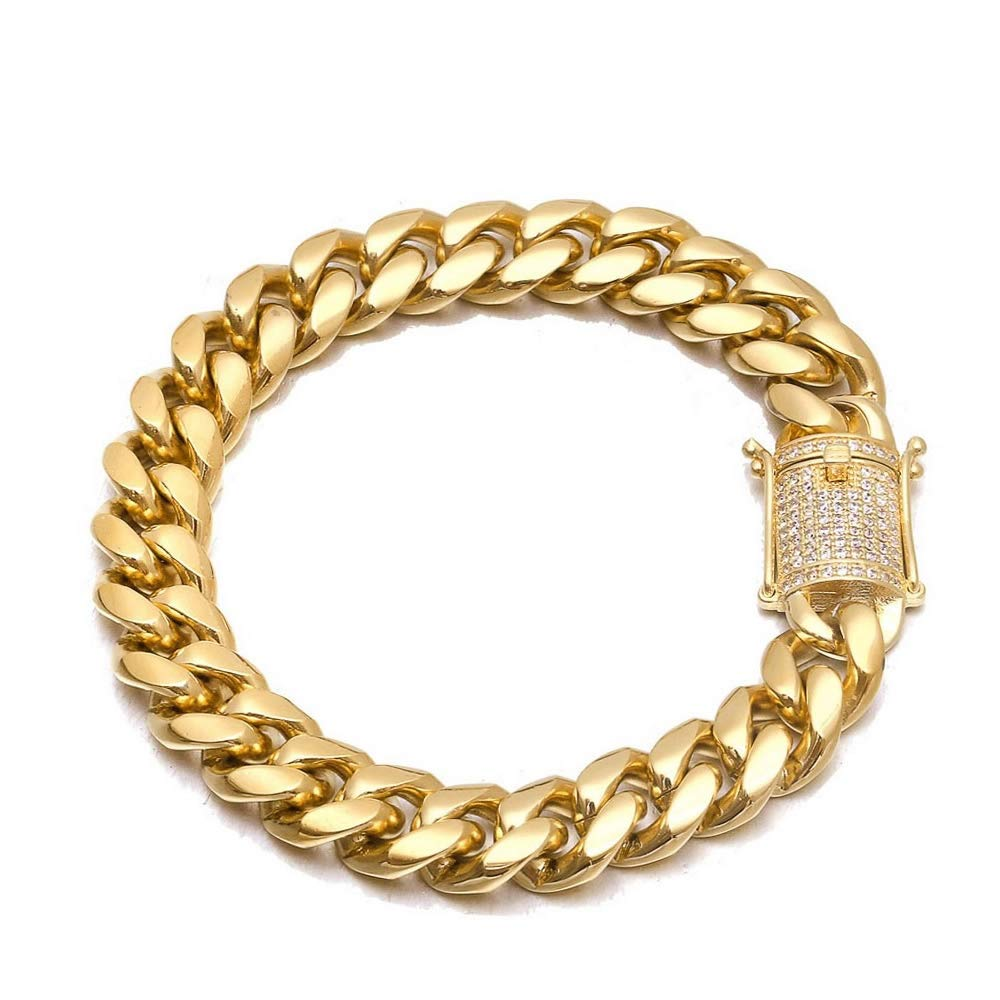 TRIPOD JEWELRY Miami Cuban Link Chain Bracelet-5 Times 18K Gold Plated Necklace with Iced Out 5A+ Diamond Clasp Necklace-Hip Hop Solid 316L Stainless Steel Chain Bracelet for Mens