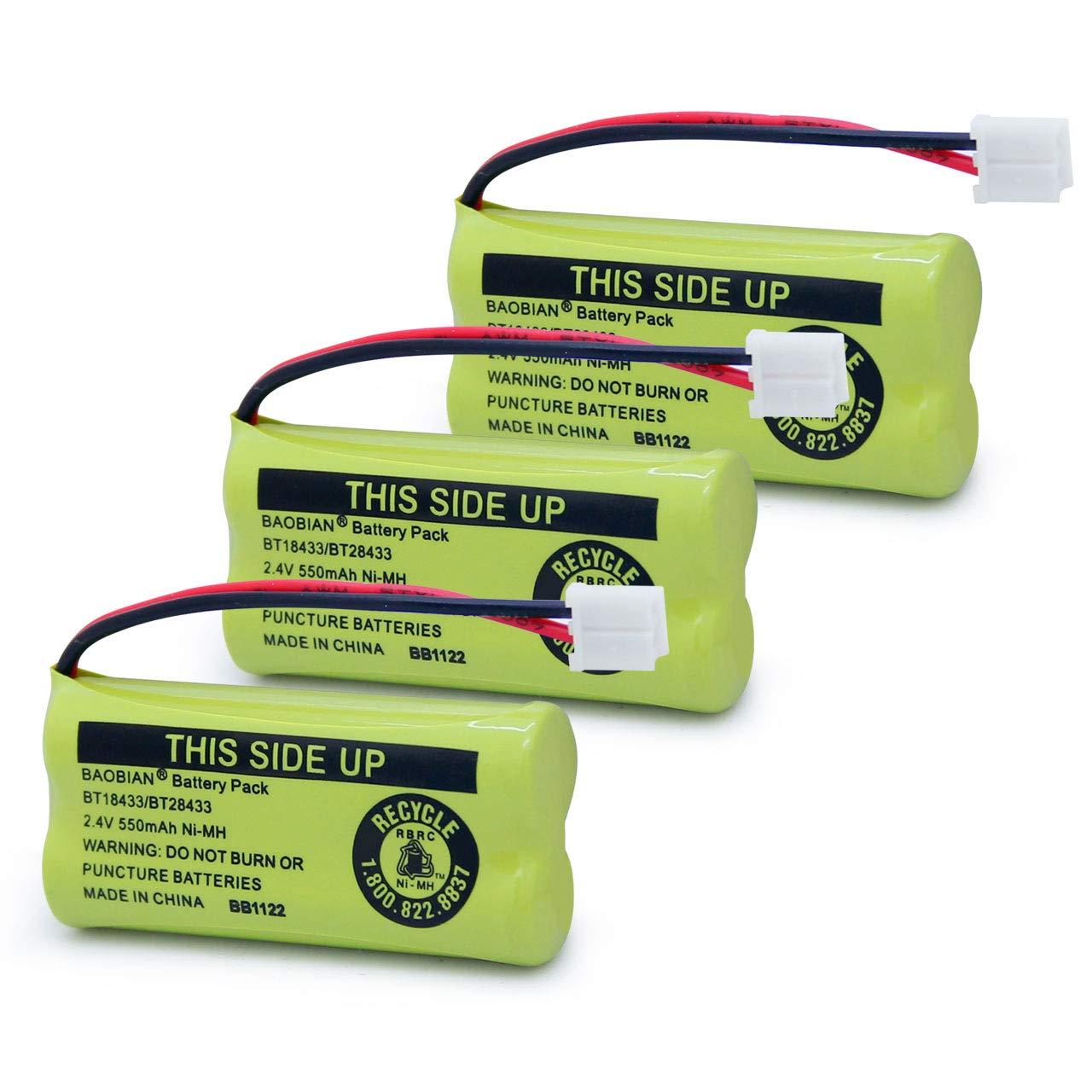 BAOBIAN BT18433 BT28433 Cordless Phone Battery 2.4V 550mAh Ni-MH BT-18433 BT-28433 BT184342 BT284342 BT1011 BT-1011 BT-1018 BT-1022 BT8000 BT8001 BT8300 BT6010 CPH-515D CPH515D (Pack of 3)