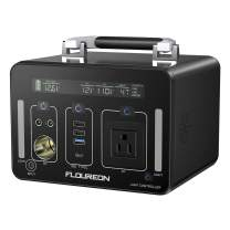 floureon Power Station Generator Power Supply 140400mAh / 500Wh Battery Adoption 1500 Times Charge/Discharge Cycle, AC Pure sine Wave 250W DC/USB QC3.0 Output Type-C PD60W Output for Outdoors