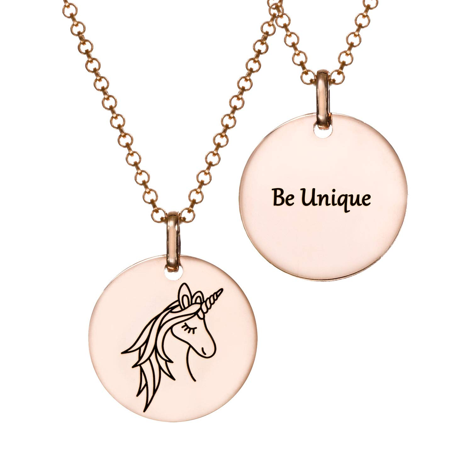 MyNameNecklace Unicorn Pendant -Engraved Be Unique or Personalized Pendant- Inspriational Jewelry