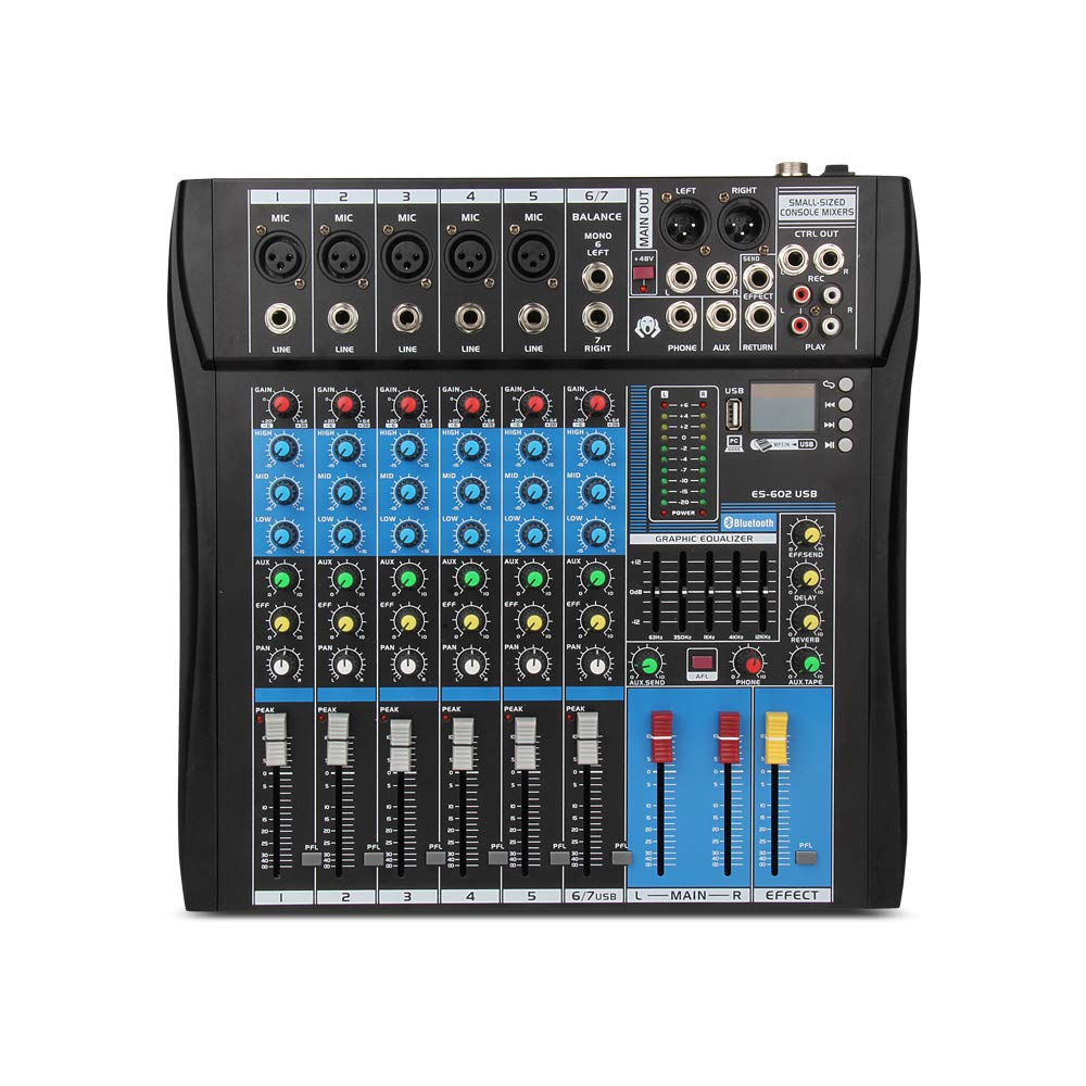 XTUGA Professional Audio Mixer Sound Board Console ES602 USB/MP3/Bluetooth Stage Audio Mixer Built-in Digital Effect Mixer Music Mixer 7 Channel Mixer +48Vpower (black)