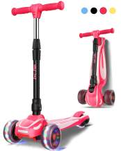 LOL-FUN Toddler Scooter for Kids Ages 3-12 Years Old Boy Girl with 3 Wheel LED Lights, Extra-Wide Childrens Foldable Kick Scooter Kids Ages 3-5 with 4 Adjustable Height and Lean-to-Steer