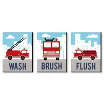 Big Dot of Happiness Fired Up Fire Truck - Kids Bathroom Rules Wall Art - 7.5 x 10 inches - Set of 3 Signs - Wash, Brush, Flush
