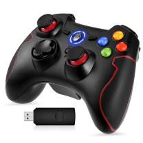 PS3 Dualshock Gaming Controller, EasySMX Wireless 2.4G Gamepads with Vibration Fire Button Range up to 10m Support PC (Windows XP/7/8/10), Playstation 3, Android, TV Box Portable Gaming Joystick