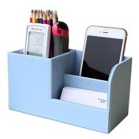 KINGFOM Wooden Struction Leather Multi-function Desk Stationery Organizer Storage Box Pen/Pencil,Cell phone, Business Name Cards Remote Control Holder Colors (S-Blue)