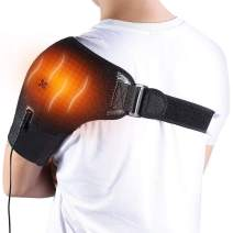 Heated Shoulder Wrap Brace, 3 Heat Settings, Adjustable Heating Shoulder Pad with Hot and Cold Therapy for Rotator Cuff, Frozen Shoulder, Shoulder Dislocation or Muscles Pain Relief