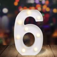 ODISTAR LED Light Up Marquee Letters, Battery Powered Sign Letter 26 Alphabet with Lights for Wedding Engagement Birthday Party Table Decoration bar Christmas Night Home,9'', White(6)