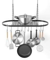 "X Home Pot and Pan Rack for Ceiling with Hooks, Decorative Oval Mounted Storage Rack, Multi-Purpose Hanging Hanger Organizer for Home, Restaurant, Kitchen Cookware, Utensils, Books, 32"" X 16.5"""