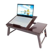 Yizhen-G Bamboo Laptop Desk Adjustable Portable Breakfast Serving Bed Tray with Tilting Top Drawer (T2-Dark Coffee)